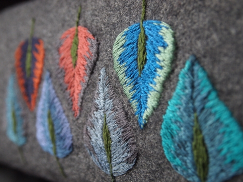 embroidery: leaf